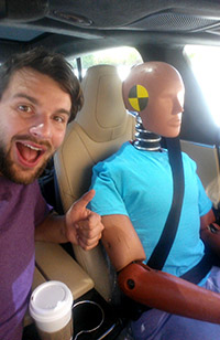On the job at Tesla with Oscar, the crash test dummy.